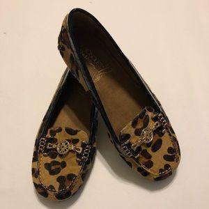 Aerosoles cow hide leopard loafers size 9.5
